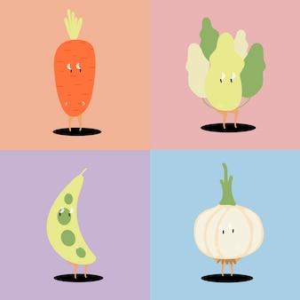 Insieme di vettore dei personaggi dei cartoni animati della verdura fresca
