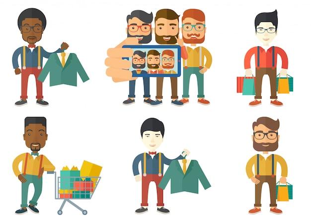 Insieme di vettore dei personaggi dello shopping persone.