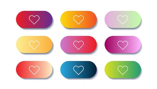 Insieme di vettore dei pulsanti app o gioco moderni gradiente. pulsante web dell'interfaccia utente con cuori.