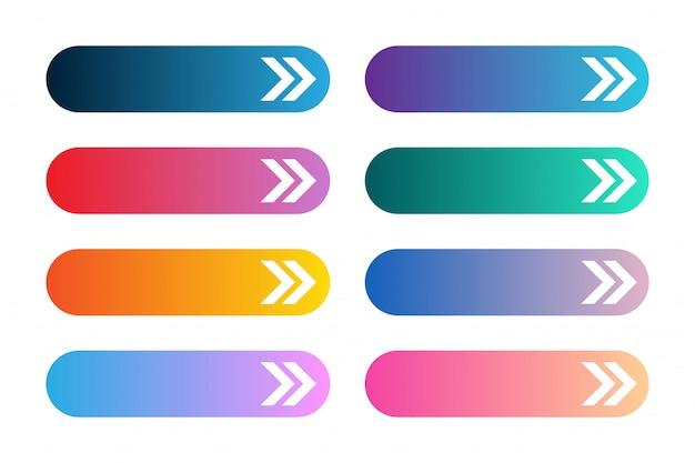 Insieme di vettore dei pulsanti app o gioco moderni gradiente. pulsante web dell'interfaccia utente con le frecce.