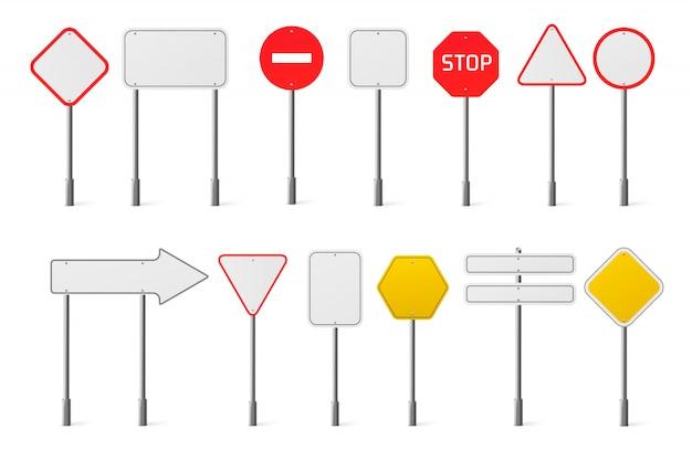 Insieme di vettore dei segnali stradali di traffico in bianco