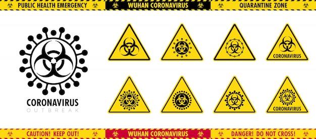 Insieme di vettore dei segni triangolari e dei nastri di attenzione sull'epidemia. pittogrammi diversi di un virus.