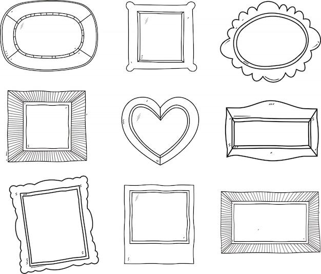 Insieme di vettore dei telai dell'annata, stile doodle disegnato a mano