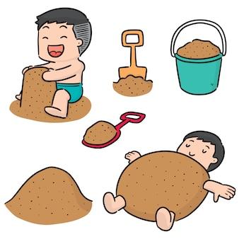 Insieme di vettore del bambino che gioca a sabbia