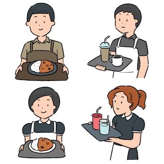 Insieme di vettore del cameriere e cameriera