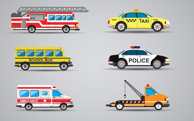 Insieme di vettore del camion dei pompieri trasporto isolato, ambulanza, auto della polizia, camion per il trasporto auto difettose, scuolabus, taxi.