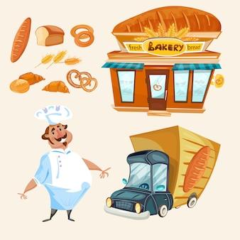Insieme di vettore del camion di consegna del panettiere del pane fresco del negozio del forno