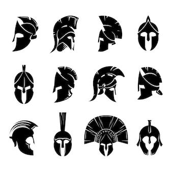 Insieme di vettore del casco spartano