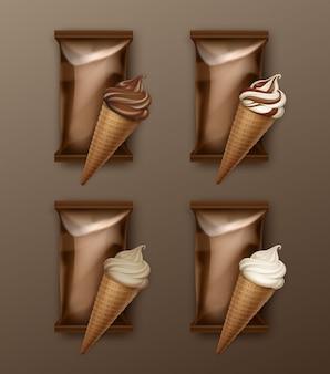 Insieme di vettore del cono di cialda gelato bianco classico e cioccolato morbido servire
