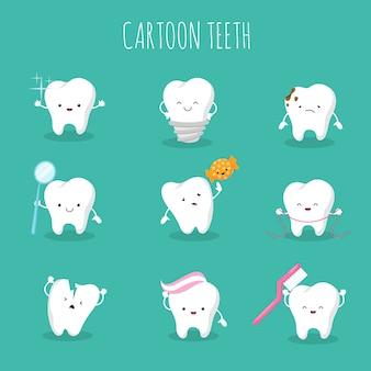 Insieme di vettore del dente simpatico cartone animato. icone di salute e igiene dei denti da latte