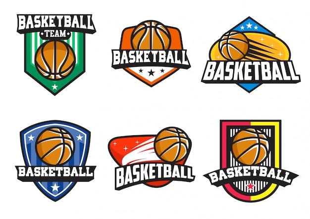 Insieme di vettore del distintivo di pallacanestro