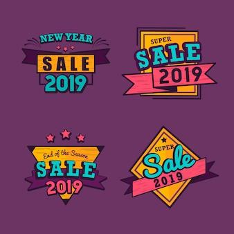 Insieme di vettore del distintivo di vendita del nuovo anno 2019
