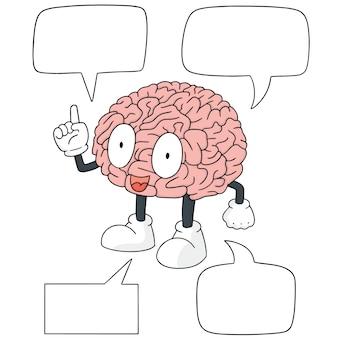 Insieme di vettore del fumetto del cervello