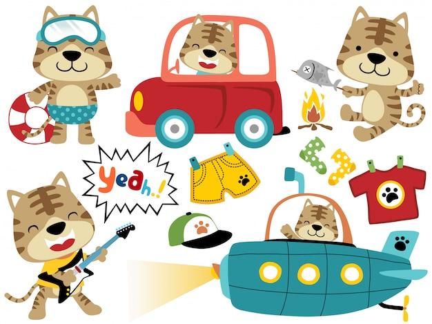 Insieme di vettore del fumetto del gatto con i suoi giocattoli, attività divertenti del gatto