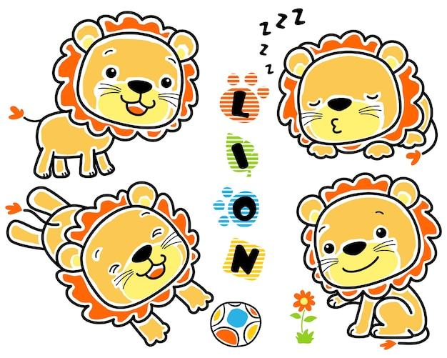 Insieme di vettore del fumetto del leone del bambino