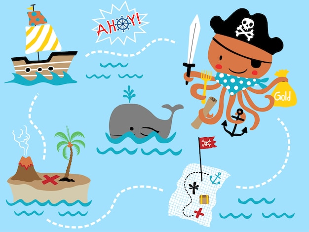 Insieme di vettore del fumetto del pirata