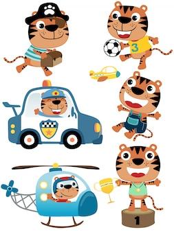 Insieme di vettore del fumetto della tigre con i suoi giocattoli