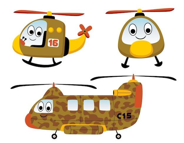 Insieme di vettore del fumetto di elicotteri.