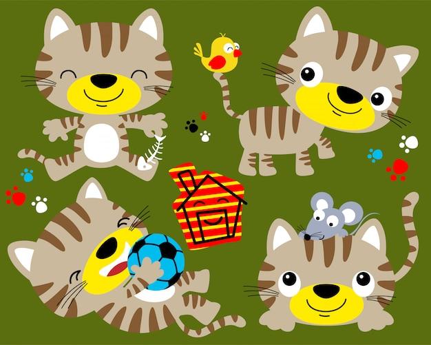 Insieme di vettore del fumetto di gatto divertente