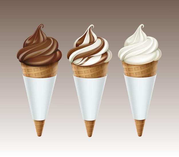 Insieme di vettore del gelato al cioccolato classico bianco marrone morbido servire