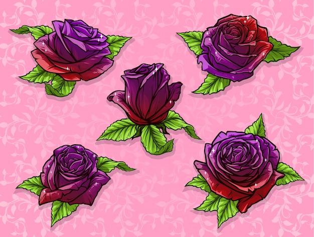 Insieme di vettore del germoglio di rosa del fumetto dettagliato grafico
