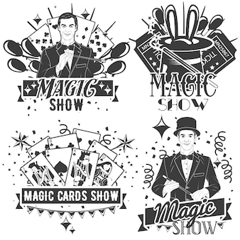 Insieme di vettore del logo spettacolo magico in stile vintage isolato. trucchi di carte