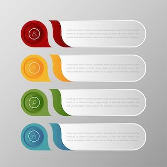 Insieme di vettore del modello delle insegne del infographics e scatola di testo multicolori per il layout di presentazione.