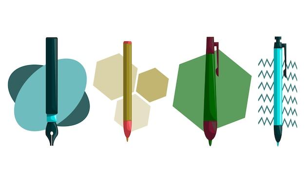 Insieme di vettore del modello di progettazione della penna della matita