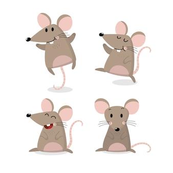 Insieme di vettore del mouse carino. il piccolo ratto ha una collezione a coda lunga.