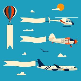 Insieme di vettore del palloncino volante, dell'elicottero, dell'aeroplano e del biplano retro con le insegne di pubblicità. modello per il testo elementi di design in stile piatto.