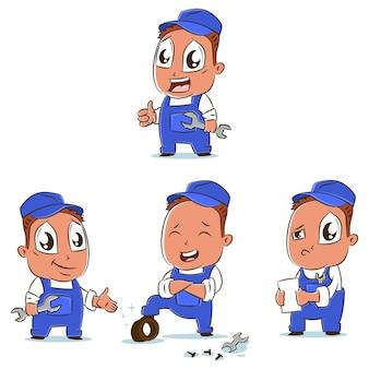 Insieme di vettore del personaggio dei cartoni animati dell'officina riparazioni dell'automobile dei meccanici di automobile nelle pose differenti.