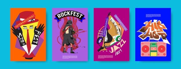 Insieme di vettore del poster di musica per l'evento