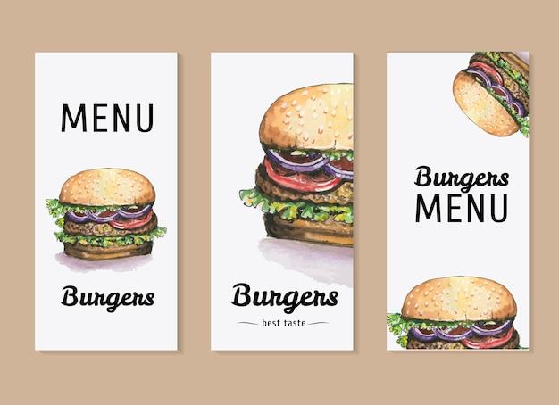 Insieme di vettore dell'acquerello del modello per il menu di hamburger