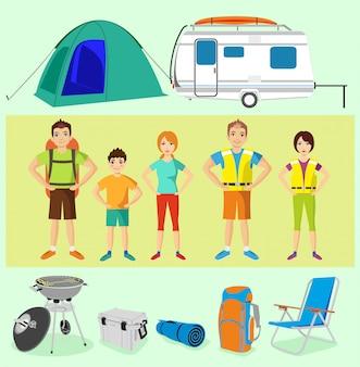 Insieme di vettore dell'attrezzatura di campeggio degli elementi di campeggio. personaggi dei turisti