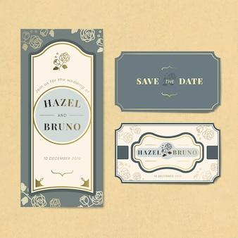 Insieme di vettore dell'etichetta dell'invito di nozze dell'annata