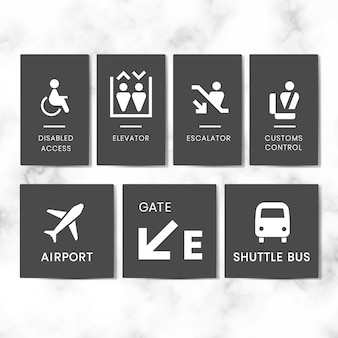 Insieme di vettore dell'icona dei segni dell'aeroporto