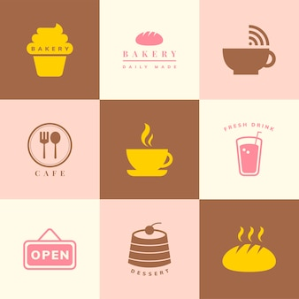 Insieme di vettore dell'icona della caffetteria