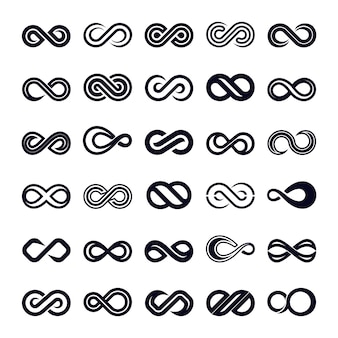 Insieme di vettore dell'icona di forma di infinito