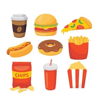 Insieme di vettore dell'illustrazione degli alimenti a rapida preparazione del fumetto