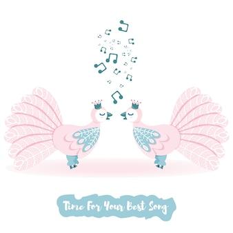 Insieme di vettore dell'uccello di amore. tavolozza leggera di vettore dell'uccello di canto. vettore di cartone animato