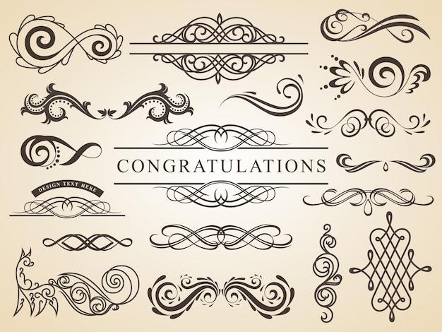 Insieme di vettore della decorazione calligrafica della pagina degli elementi di nozze di progettazione