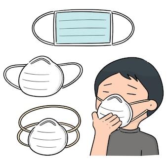 Insieme di vettore della mascherina protettiva medica