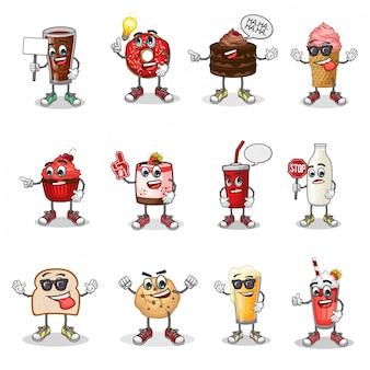 Insieme di vettore della mascotte del fumetto del dessert con emoticon