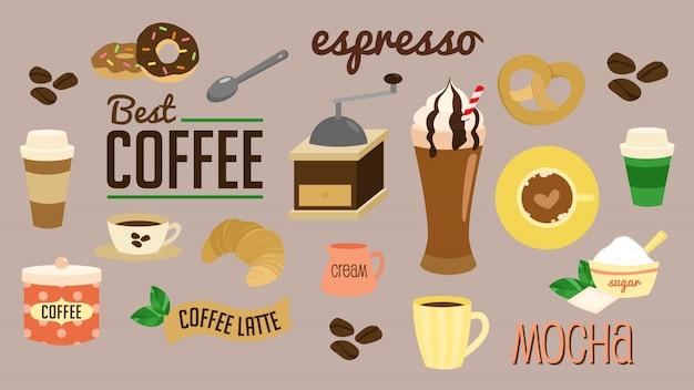 Insieme di vettore della pausa caffè
