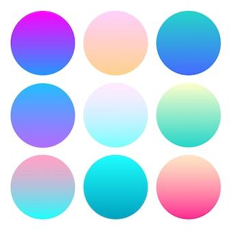 Insieme di vettore della sfera gradiente olografica. diversi gradienti del cerchio al neon.