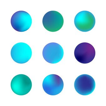 Insieme di vettore della sfera olografica gradiente. gradienti di cerchio al neon blu. bottoni rotondi variopinti isolati su fondo bianco.