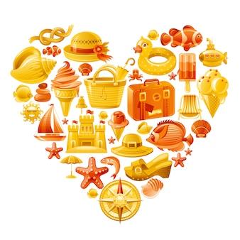 Insieme di vettore della spiaggia di estate, a forma di cuore con i simboli di vacanza del mar giallo - occhiali da sole, borsa, cappello, castello della sabbia, valigia, nave, conchiglia.