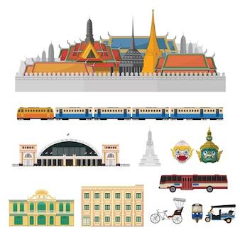 Insieme di vettore della tailandia, punto di riferimento della tailandia.