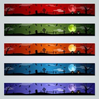 Insieme di vettore delle bandiere di halloween