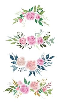 Insieme di vettore delle disposizioni di fiori di rosa